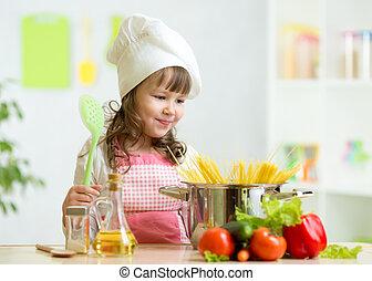 sain, légumes, cuisinier, gosse, marques, repas, cuisine