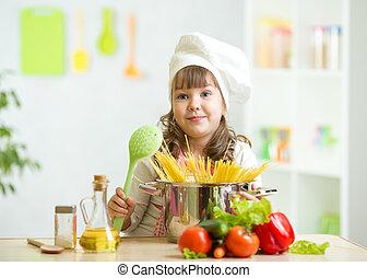 sain, légumes, enfant, marques, repas, cuisine