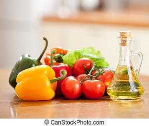 sain, légumes, nourriture, table, poivres, tomates fraîches, cuisine