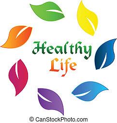 sain, logo, vie, pousse feuilles, coloré