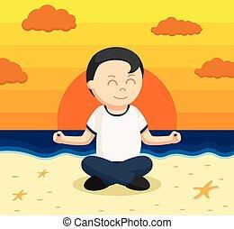 sain, méditer, plage, gros homme