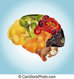 sain, nutrition, contre, démence
