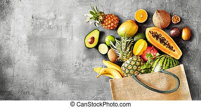 sain, organique, fruit, exotique, panorama, bannière