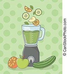 sain, préparation, légumes, mixer, fruits