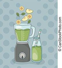 sain, préparation, mixer, bouteille, fruits