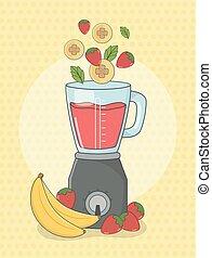 sain, préparation, mixer, fruits