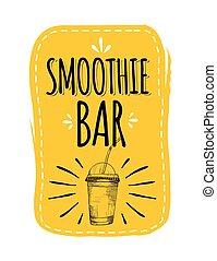 sain, smoothie, menu., bar.