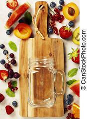 sain, smoothies, à, frais, ingrédients, concept