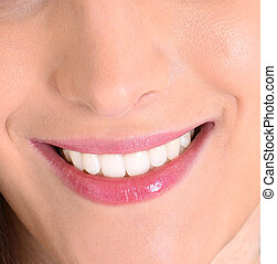 sain, sourire, blanc,  closeup, dents