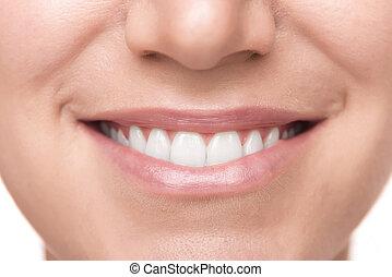 sain, sourire, blanc, dents