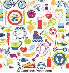 sain, themed, style de vie, coloré, graphiques