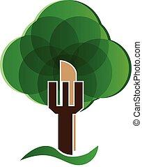 sain, vert, concept, arbre, logo