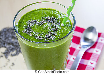 sain, vert, jus, smoothie, boisson