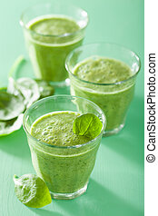 sain, vert, smoothie, à, épinards, feuilles