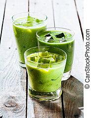 sain, vert, smoothie, secousses, dans, verres potables