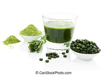 sain, wheatgrass., chlorella, living., spirulina