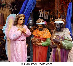 saint and virgin figurines in mexican market - saint and...