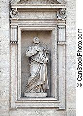 Saint Andrew Avellino statue on the portal of Sant Andrea ...