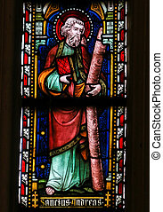 Saint Andrew - Stained Glass in Sint Truiden Cathedral - ST...