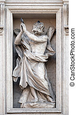 Saint Andrew the Apostle statue on the portal of Sant Andrea...