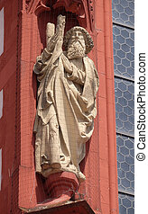 Saint Andrew the Apostle statue on the portal of the Marienkapelle in Wurzburg, Bavaria, Germany