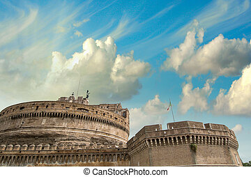 Saint Angel Fortress in Rome at sunset, Italy