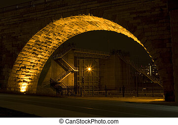 Saint Anthony Falls Lock and Dam at Night