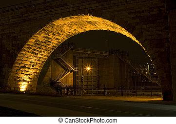 Saint Anthony Falls Lock and Dam at Night
