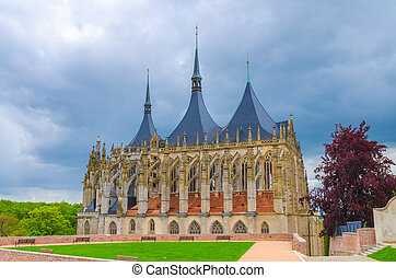 Saint Barbara's Church (Cathedral of St Barbara) Roman Catholic church Gothic style building facade in Kutna Hora