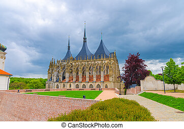 Saint Barbara's Church (Cathedral of St Barbara) Roman Catholic church Gothic style building in Kutna Hora historical Town Centre