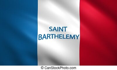 Saint-Barthelemy flag with the name of the country