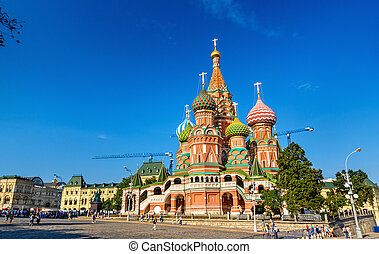 Saint Basil Cathedral in Red Square of Moscow - Saint...