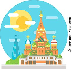 Saint Basil's cathedral flat design landmark illustration...