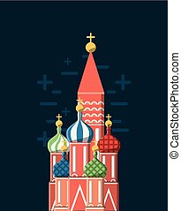 Saint basils cathedral icon over blue background, colorful...
