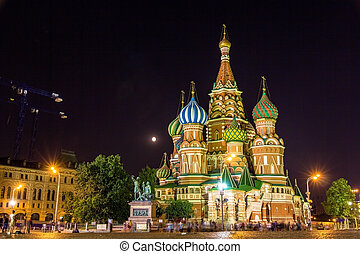 Saint Basil's Cathedral in Moscow at night