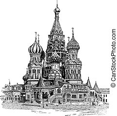 Saint Basil's Cathedral, in Moscow, Russia, vintage engraving