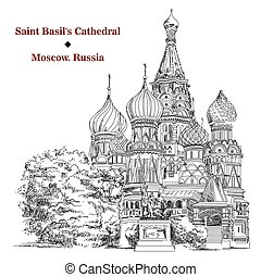 Saint Basil's Cathedral in Moscow, vector hand drawing image