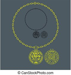Saint Benedict medal. Symbol of christianity. vector or fully editable illustration.