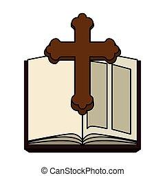 saint, bois, bible, croix