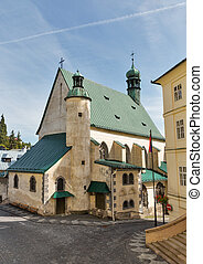Saint Catherine church and town hall in Banska Stiavnica,...