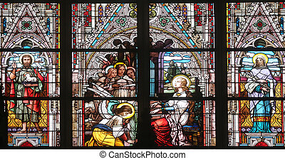 Saint Cecilia, stained glass in Minoriten kirche in Vienna,...