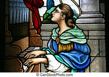 Saint Cecilia, Stained glass