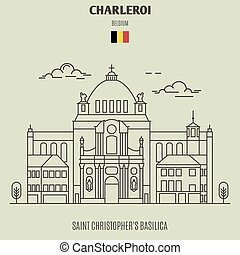 Saint Christopher's Basilica in Charleroi, Belgium. Landmark icon in linear style