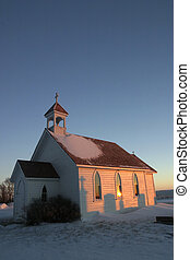 Saint Columba country church in winter