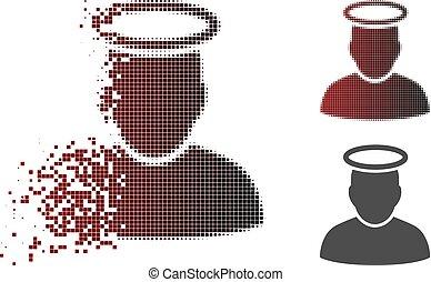 saint, déchiqueté, halftone, homme, pixel, icône