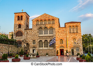 Saint Demetrius church in Thessaloniki, Greece in a summer...