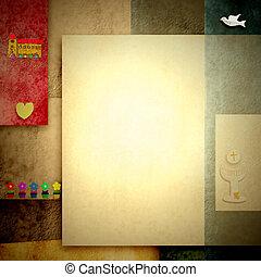 saint, espace, photo, invitations, écrire, communion, vide, ou