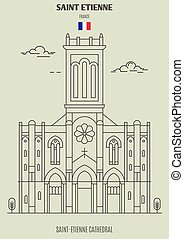 Saint-Etienne Cathedral in Saint Etienne, France. Landmark icon in linear style