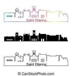 Saint Etienne skyline linear style with rainbow