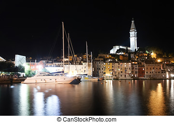 Saint Eufemia church and bell tower in Rovinj at night